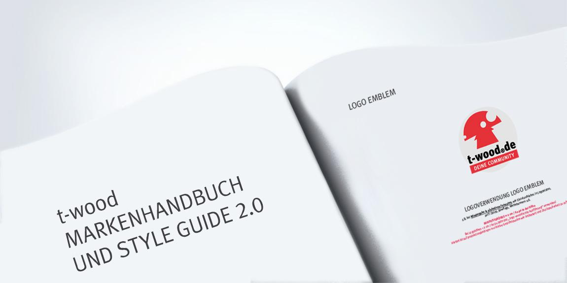 Nahaufnahme des Corporate Design mit Darstellung des Projekts t-wood