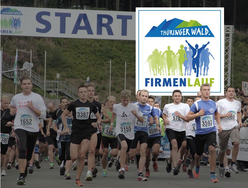 Teilnehmer des fünften Thüringer Wald Firmenlaufs in Oberhof beim Start