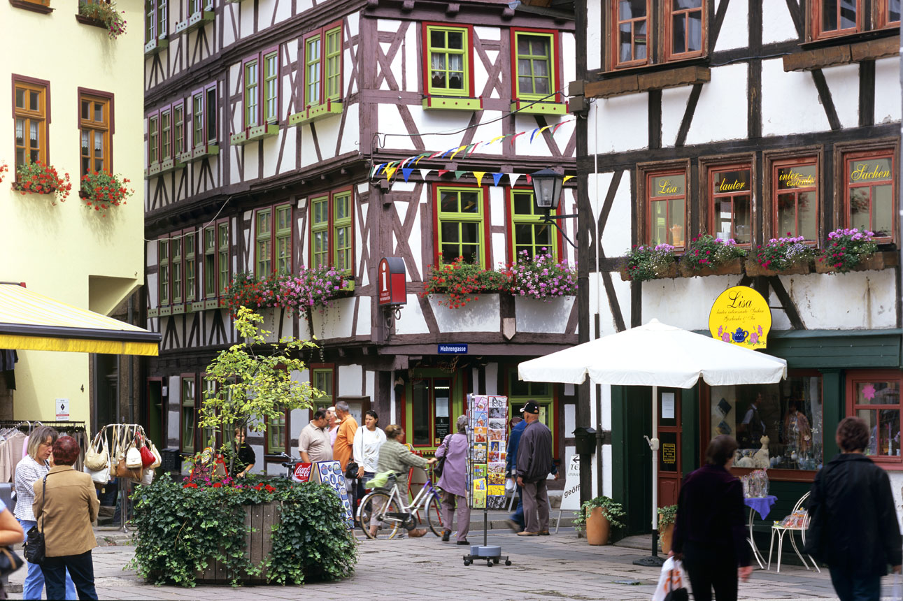 historischer Stadtkern mit Fachwerkhäusern im Landkreis Schmalkalden-Meiningen