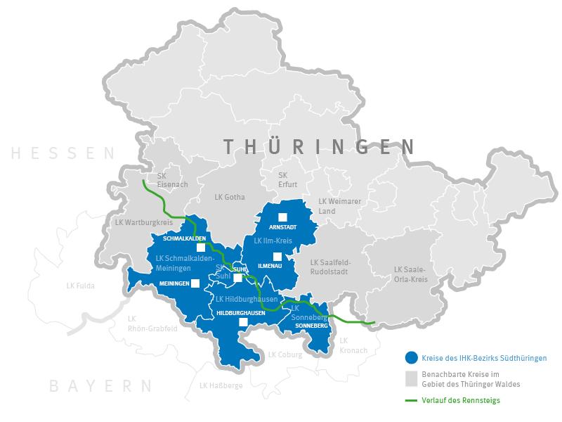 Karte von Thüringen und dem Thüringer Wald mit Kreisen und Städten der Region