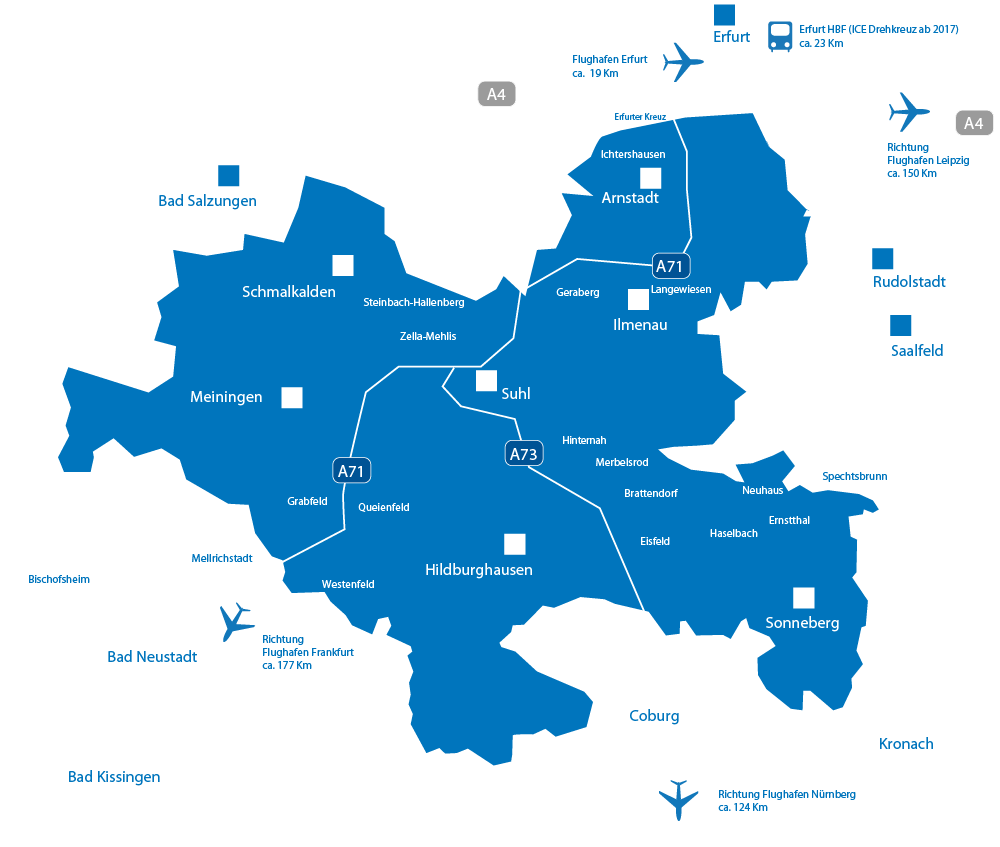 Karte von Südthüringen zur Infrastruktur mit Autobahnanschlüssen, naheliegenden Flughäfen und Bahnhöfen