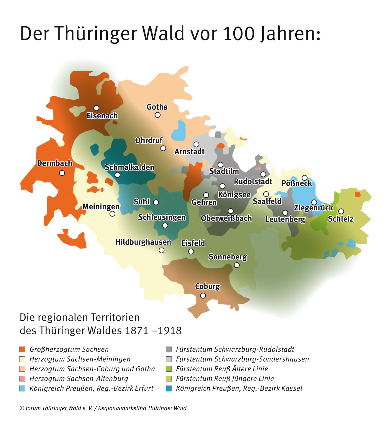 Die regionalen Territorien des Thüringer Waldes vor 100 Jahren
