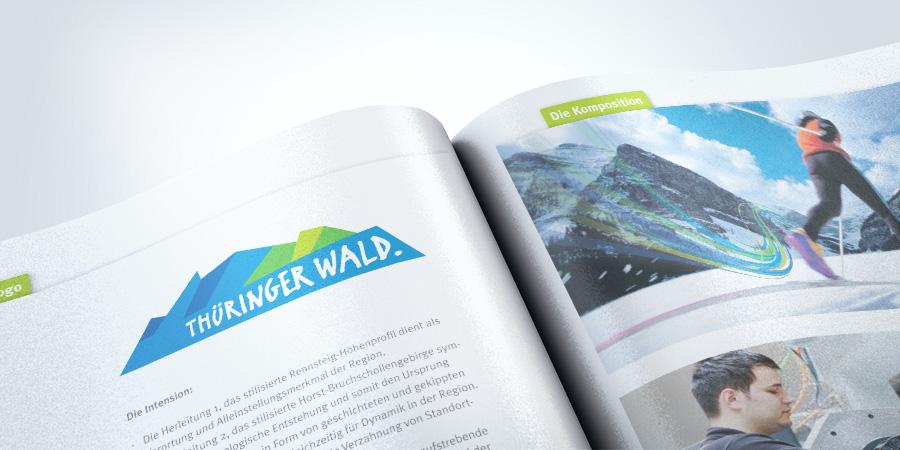 Nachaufnahme des Corporate Design mit der Dachmarke Thüringer Wald