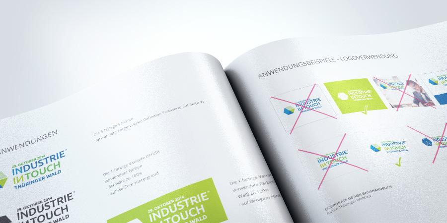 Nahaufnahme des Corporate Design mit Darstellung des Projekts Industrie InTouch