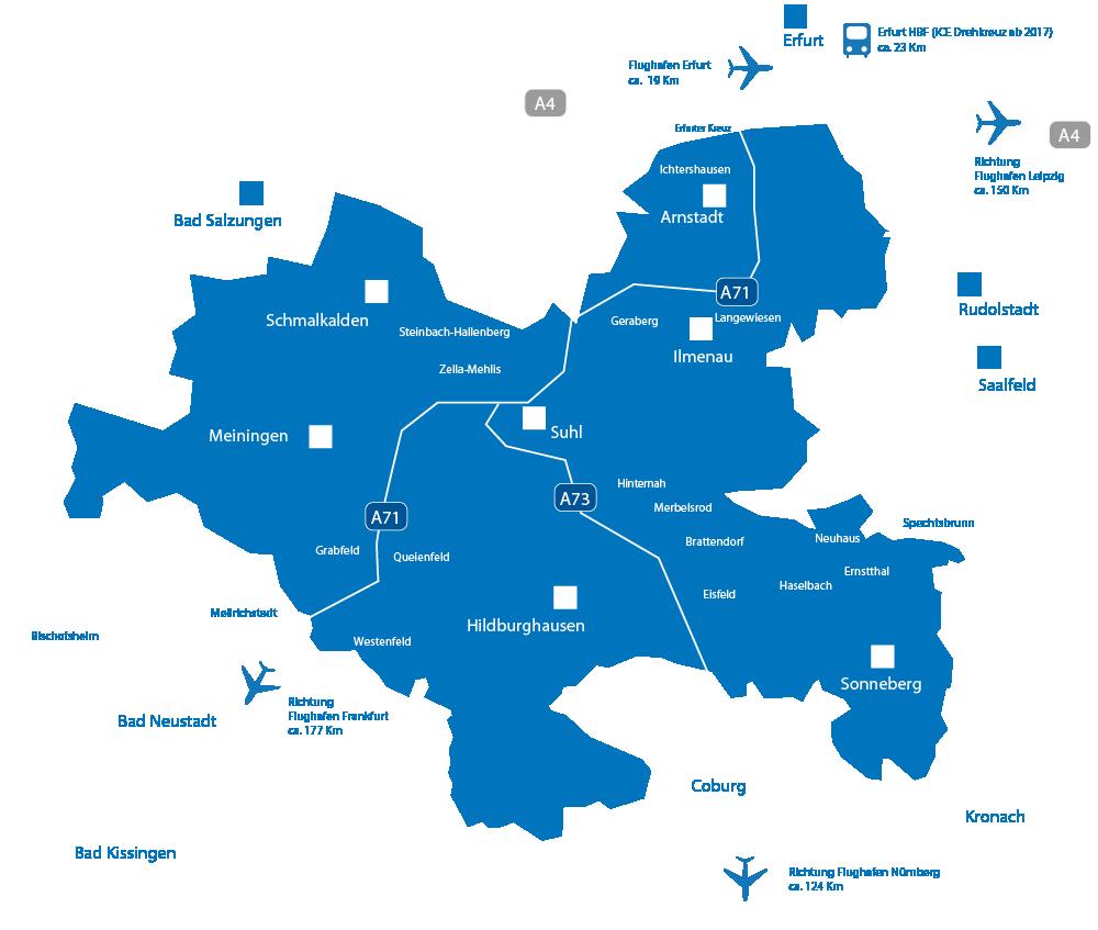 Karte von Südthüringen zur Infrastruktur der regionalen Verkehrsanbindung mit Autobahnanschlüssen, naheliegenden Flughäfen und Bahnhöfen