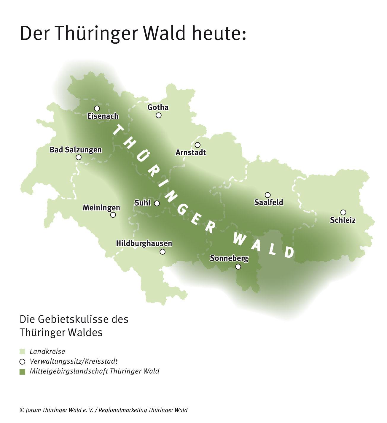 Die Gebietskulisse des Thüringer Waldes heute