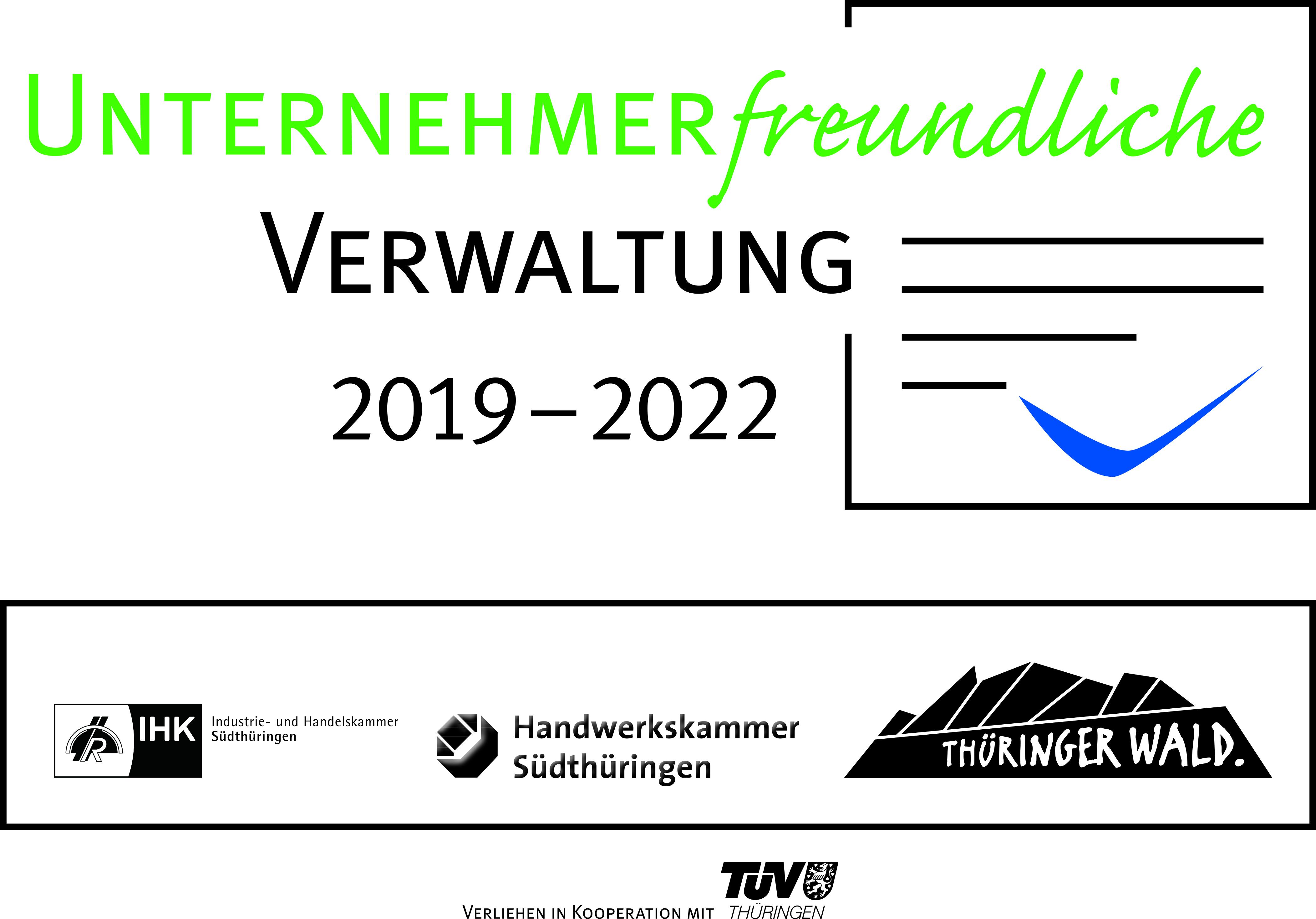 Siegel Unternehmerfreundliche Verwaltung im Thüringer Wald verliehen in Kooperation mit dem TÜV Thüringen