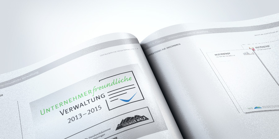Detailaufnahme Corporate Design mit Siegel Unternehmerfreundliche Verwaltung