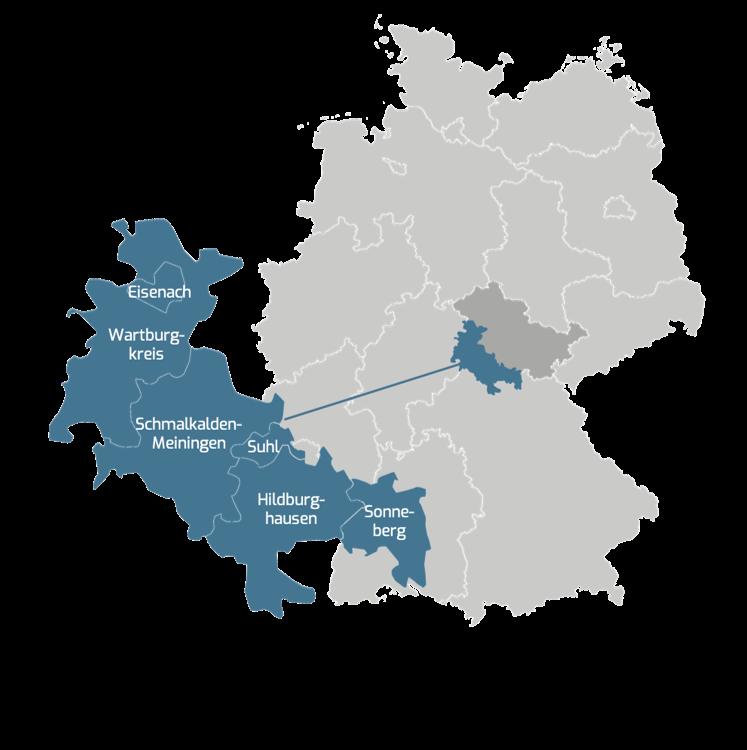 Die Landkreise die sich zum IREK Thüringens Süden zusammengeschlossen haben